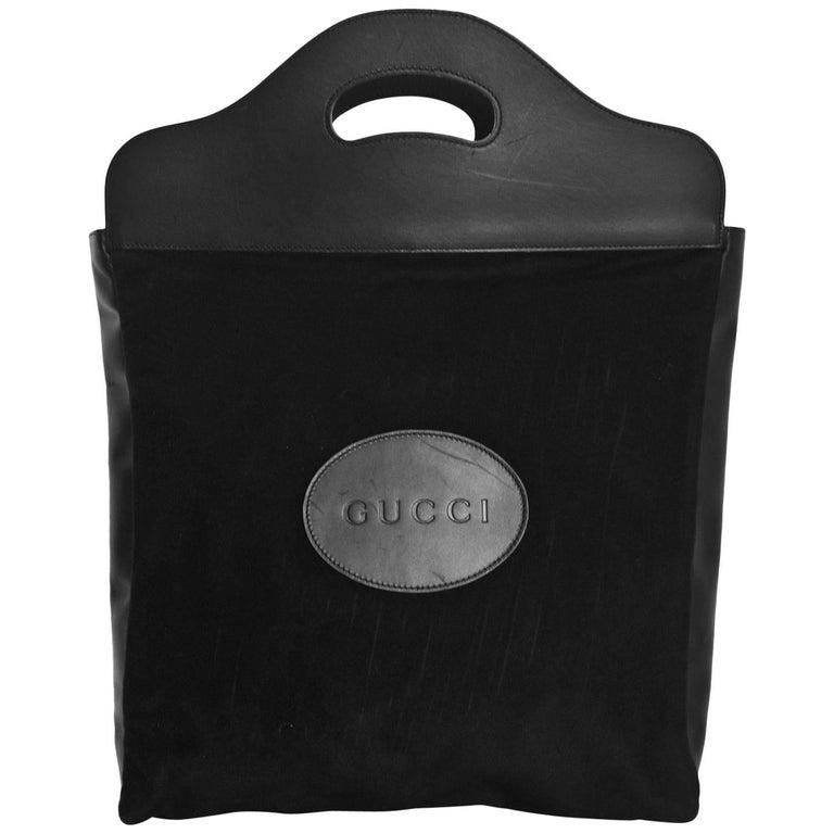 Gucci Vintage Black Felt & Leather Tote Bag