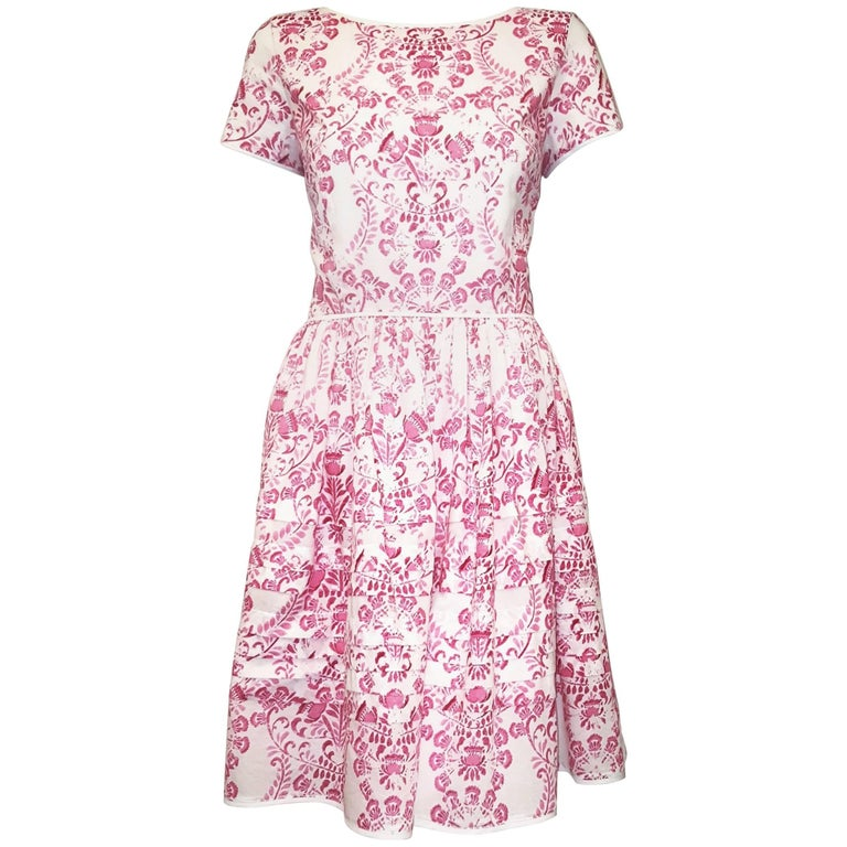 Oscar de la Renta Cotton Pink & White Short Sleeve Dress with Gathered Skirt