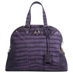 Purple Yves Saint Laurent Muse Embossed Handbag