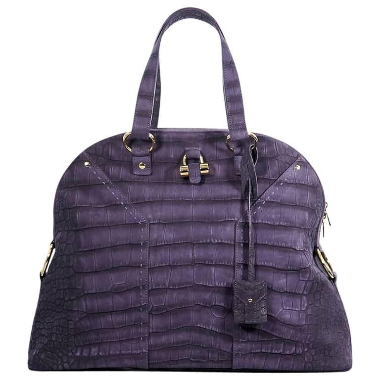 Purple Yves Saint Laurent Muse Embossed Handbag