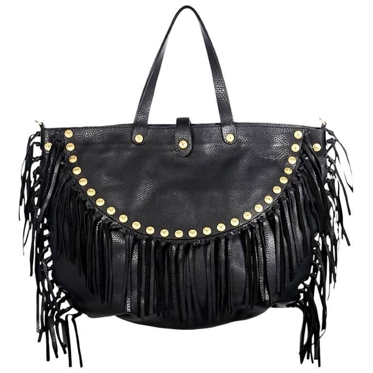 Black Valentino Rockabee Studded & Fringe Bag