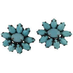 Turquoise Colored Flower Earrings Weiss 1960s