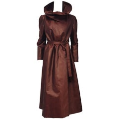 Pauline Trigere Burgundy Vintage Light Weather Coat with Convertible Collar