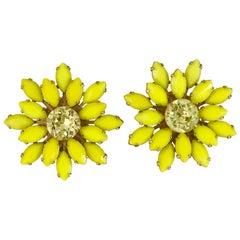 Yellow Flower Earrings Weiss 1960s