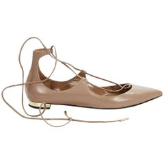 Tan Aquazzura Leather Christy Ballet Flats