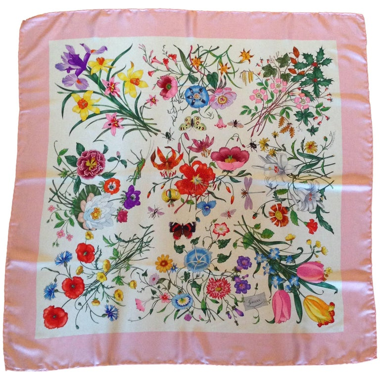 Gucci Flora Pattern Scarf with Pink Border