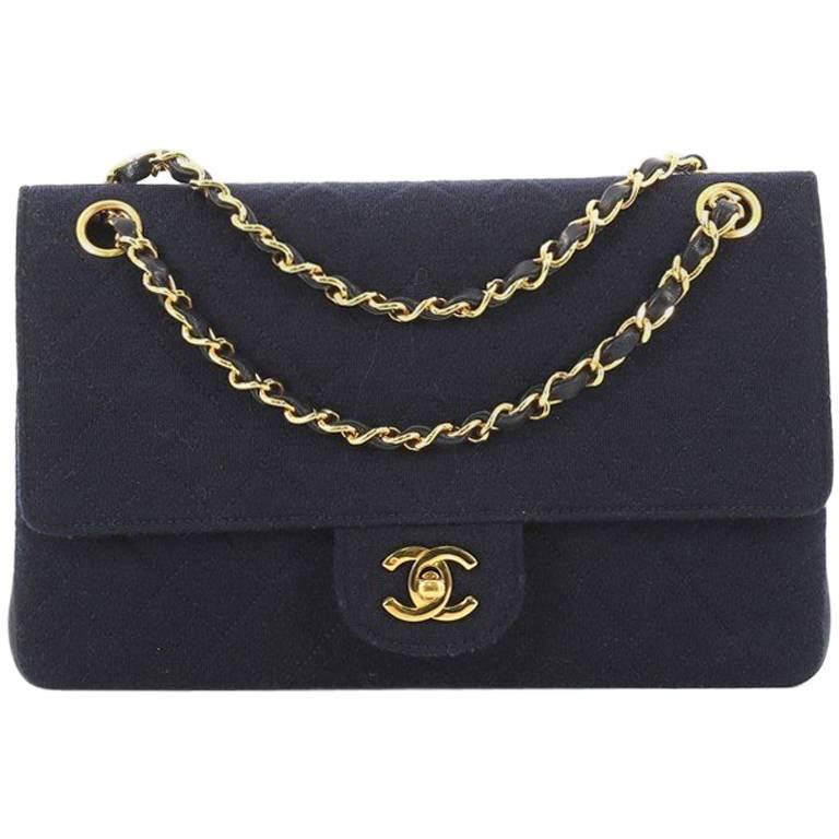 c1f09a679fa8 Chanel Vintage Classic Double Flap Bag Quilted Jersey and Lambskin Medium  For Sale