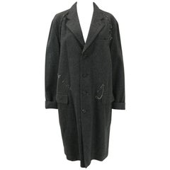Issey Miyake Grey Wool Coat Trench w White Stitching Pleats