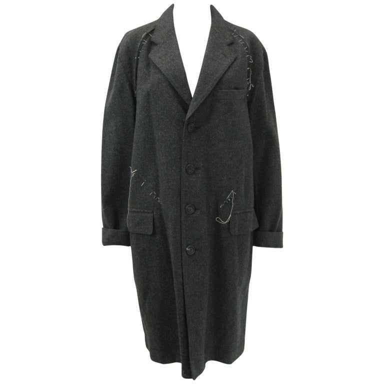 Issey Miyake Grey Wool Coat Trench w White Stitching Pleats For Sale