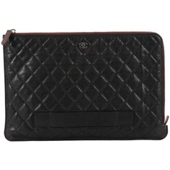 Chanel iPad Pouch Quilted Caviar Large