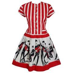 1965 Beatles Memorabilia Novelty Print Striped Cotton Belted Full Skirt Dress