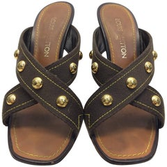 Louis Vuitton Brown Studded Leather Wedge