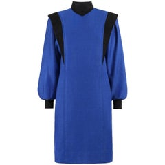 BALENCIAGA c.1980's Blue & Black Wool Herringbone Bishop Sleeve Shift Dress