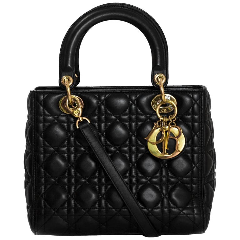 f78e4713a1 Christian Dior Black Lambskin Cannage Medium Lady Dior Bag For Sale ...