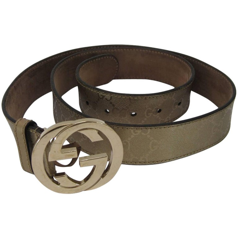 Gucci Guccissima Metallic Gold Logo Belt with Interlocking G Buckle