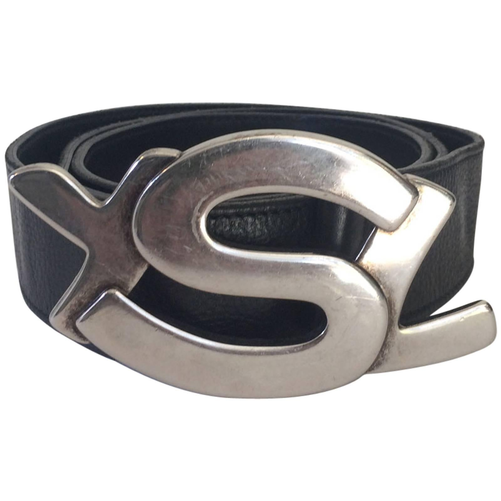 b738dfdbfd1c Yves Saint Laurent Silver YSL Logo Belt and Buckle at 1stdibs