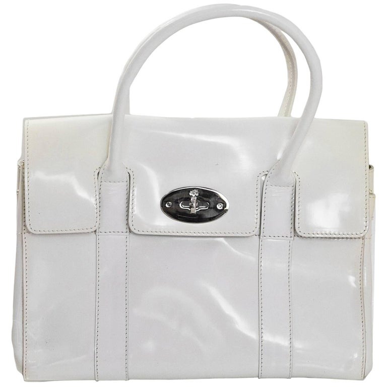 Mulberry White Patent Leather Small Bayswater Bag with Dust Bag