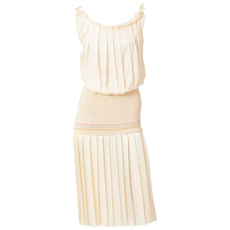 Biagiotti Pleated Silk Tennis Dress