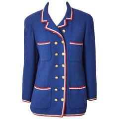 Chanel Boutique Wool Bouclé Jacket with Grosgrain Trim