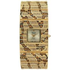 New Kenneth Jay Lane Leopard Link Swarovski Watch with Box