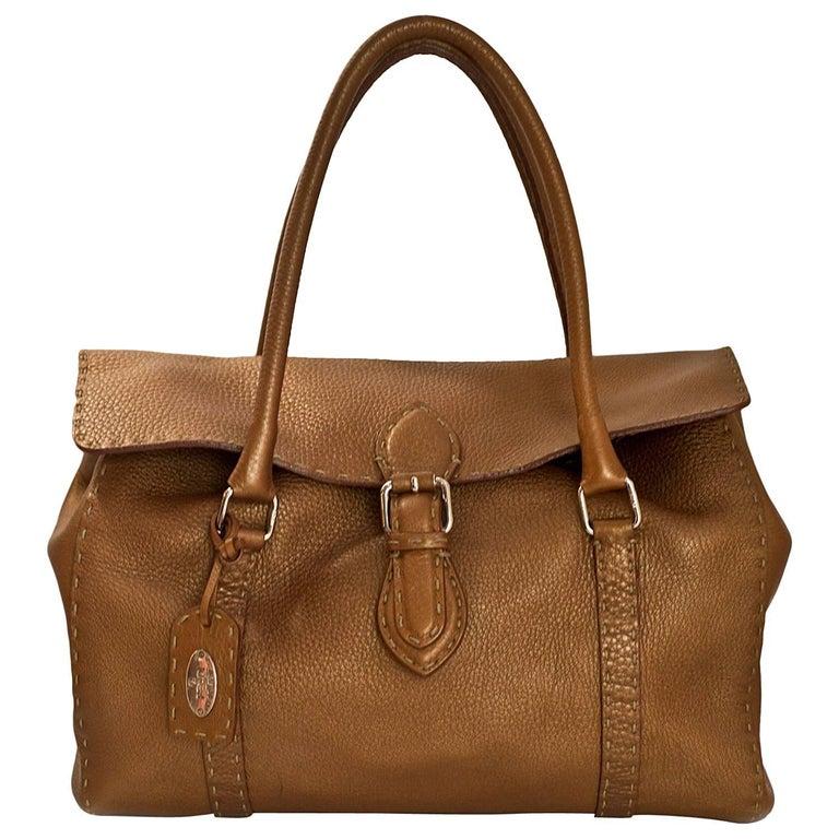 Fendi Bronze Selleria Leather Shoulder Bag
