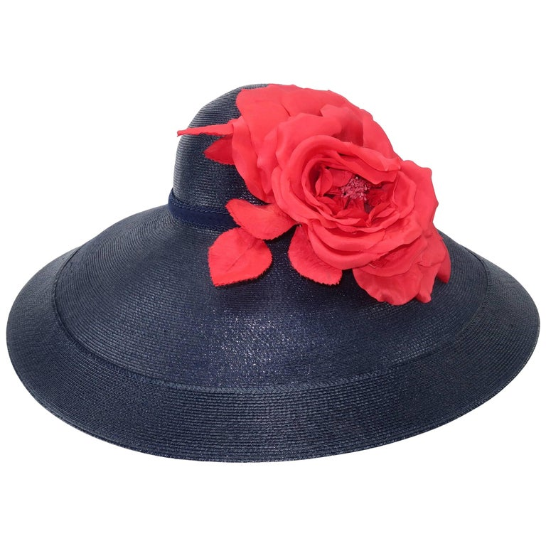 Patricia Underwood Blue Straw Wide Brim Hat With Rose, 1980s  For Sale