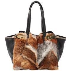 Salvatore Ferragamo Verve Tote Fox Fur and Leather Medium