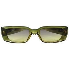 2000s Gucci Green Rectangular Sunglasses