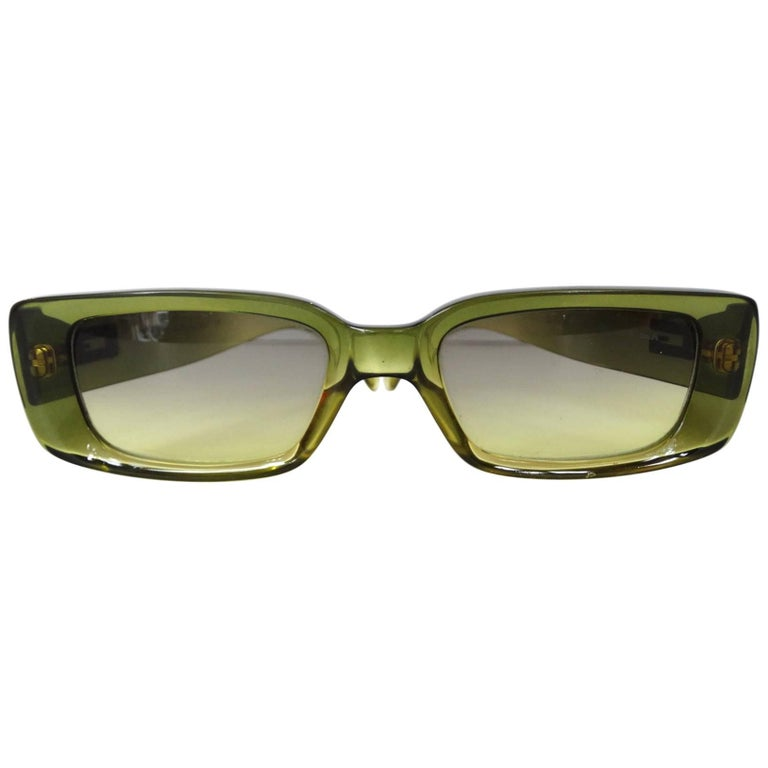 0b85b5c4b7a Rare 1970s Mother of Pearl Gucci Sunglasses. 2000s Gucci Green Rectangular  Sunglasses. 2000s Gucci Green Rectangular Sunglasses
