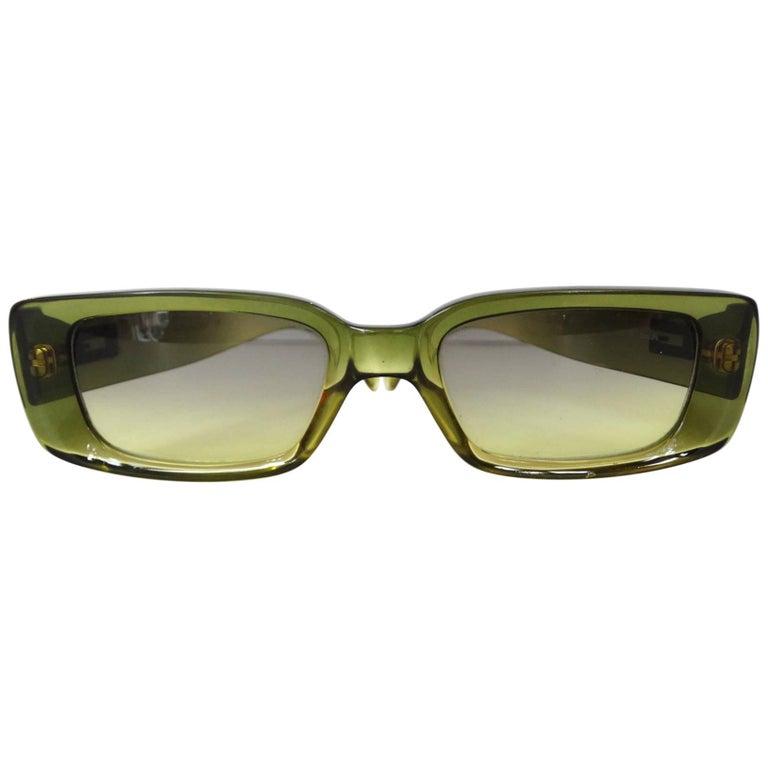 2000s Gucci Green Rectangular Sunglasses
