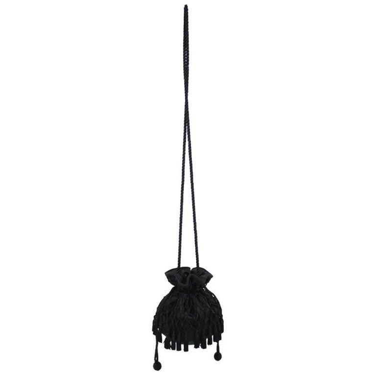 1980s Lord & Taylor Black Satin Tassel Drawstring Purse Crossbody Shoulder Bag For Sale