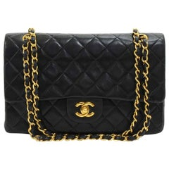 Chanel 2.55 10-Inch Double Flap Black Quilted Leather Vintage Shoulder Bag