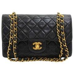 Vintage Chanel 2.55 Double Flap Black Quilted Leather Shoulder Bag