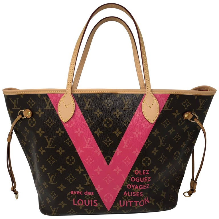 6b2fa70980b3c Louis Vuitton Neverfull MM Limited Edition V Pink Brown at 1stdibs
