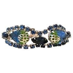 Mid-20th Century  Silver, Austrian Crystal & Molded Glass Bracelet