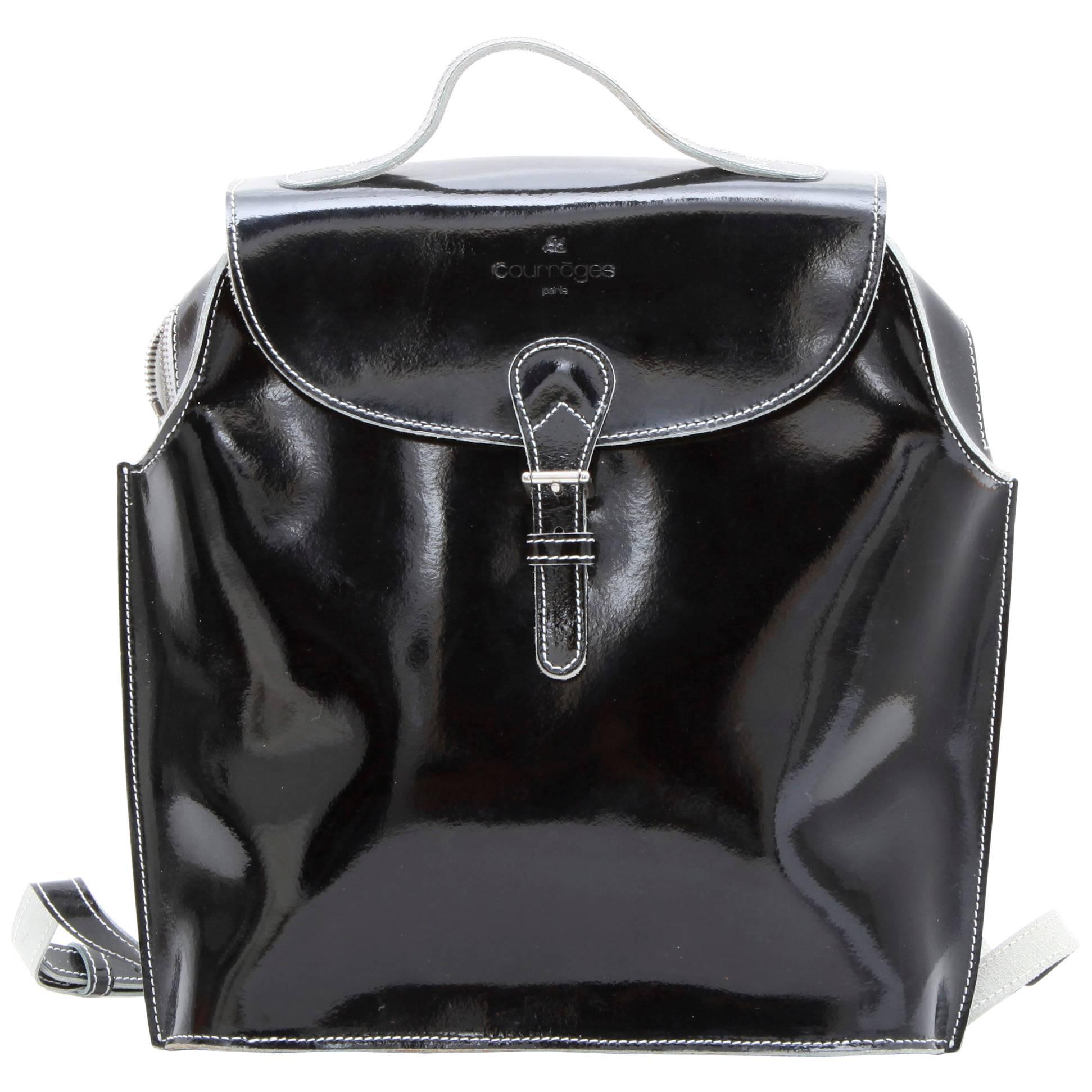 André Courrèges Black Courreges Leather Shoulder Bag
