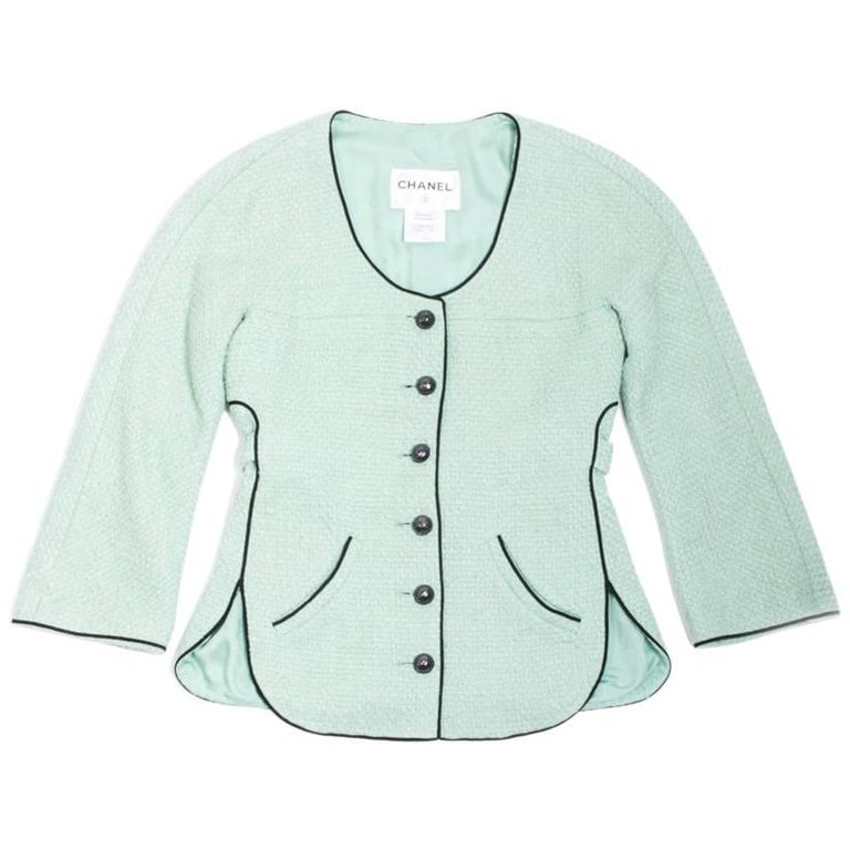 CHANEL Jacket 'Les Fonds Marins' in Green Cotton Tweed Size 36FR