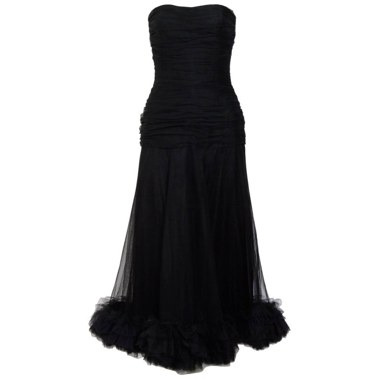 e424a38f4e051 Christian Dior vintage black tulle   silk ruched bustier dress ...