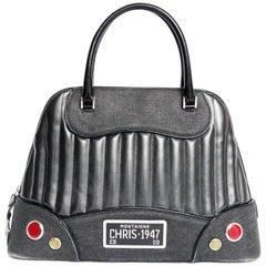 Christian Dior Chris 1947 Black Leather and Canvas Bag