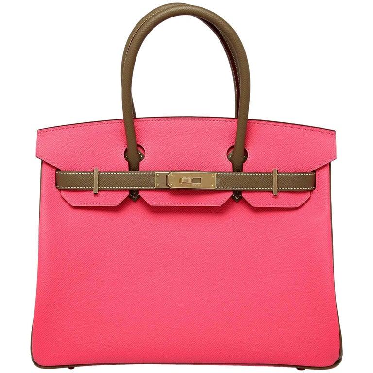 Hermes Rose Azalea Etoupe 30cm epsom permabrass hardware Horseshoe Birkin Bag