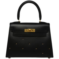 Hermes Vintage Black Box With Gold Studs 20cm Kelly Bag