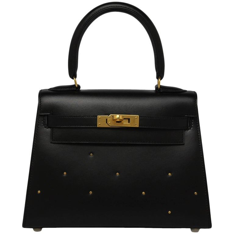 Hermes Vintage Black Box With Gold Studs 20cm Kelly Bag For Sale at ... 2661f862aaaec