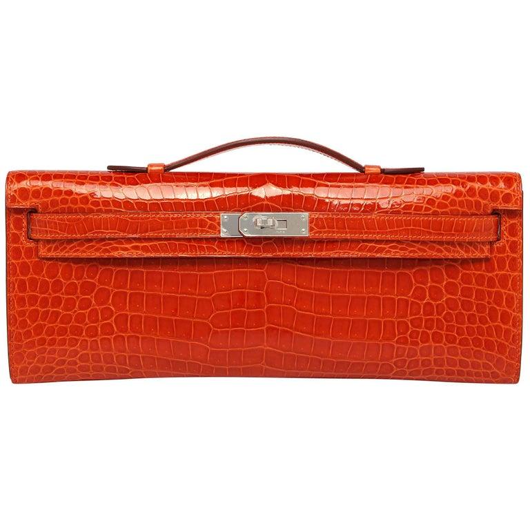 Hermes Kelly Cut Orange Shiny Porosus Croc with Palladium