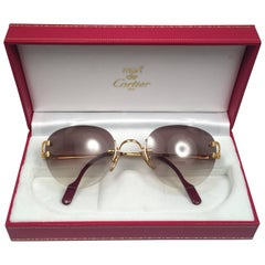 Cartier Salisbury Rimless Gold 51mm Brown Gradient Lens France Sunglasses