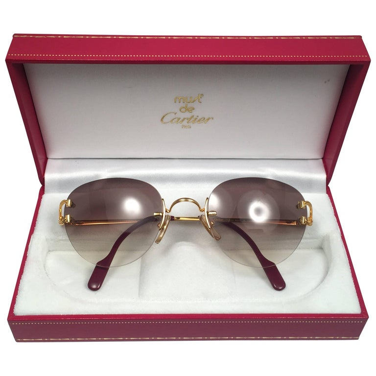 1cbae65828e4 Cartier Salisbury Rimless Gold 51mm Brown Gradient Lens France Sunglasses  For Sale