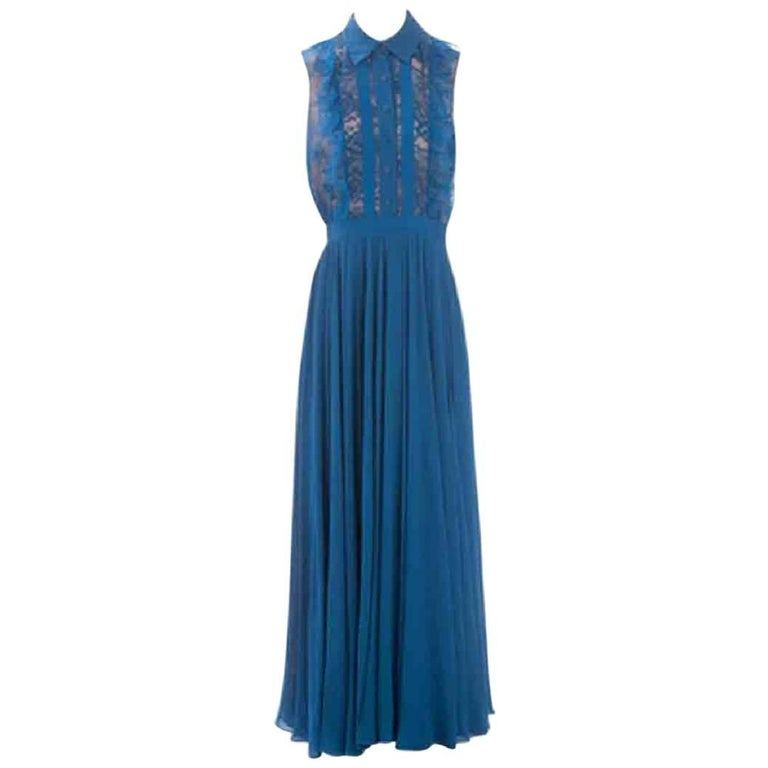 ELIE SAAB Sleeveless Evening dress in Blue Silk Size 38FR For Sale