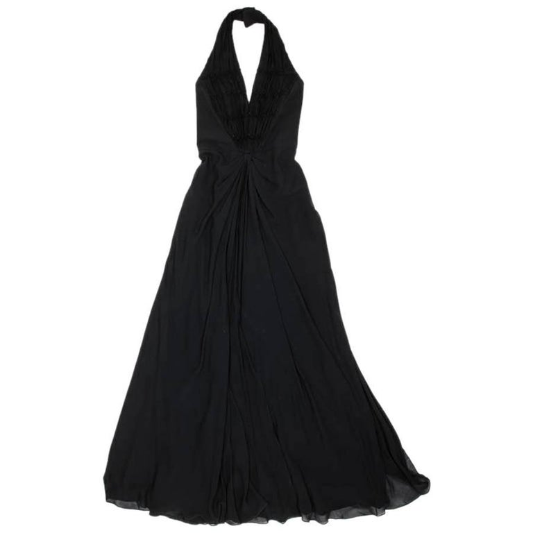 CHRISTIAN DIOR by John Galliano Long Dress in Black Silk Size 36FR