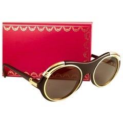 Cartier Diabolo Gold and Black 53MM Sunglasses France, 1991