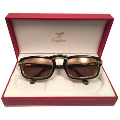 New Cartier Vertigo Gold and Black 52MM Sunglasses France, 1991