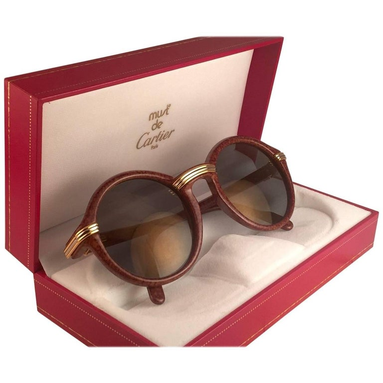 Cartier Cabriolet Round Brown 49MM Gold Sunglasses France, 1990s